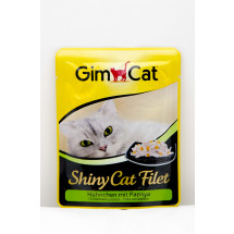 Консервы для кота Gimpet Shiny Cat Filet pouch, c курицей и папайей, 70г фото