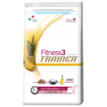 Корм Trainer Fitness3 Adult Medium&Maxi Lamb Rice Oil для собак, средние и крупные породы, 12,5 кг фото